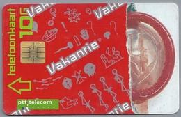 NL.- Telefoonkaart. PTT Telecom. 10 Gulden. Vakantie. Molen. Tent. Fiets. Wandelaar. - Reclame