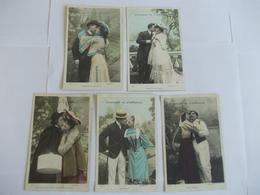 Lot De 5 Cartes D'une Même Série Comment On S'embrasse Diamant - Postcards