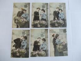 Lot De 6 Cartes D'une Même Série Couple - Postcards