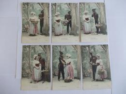 Lot De 6 Cartes D'une Même Série Hussard Couple Edition FK - Postcards