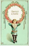 Carte Gaufrée. Illustrateur. Souvenir D'Amitiés. Enfant Et Couronne De Fleurs. - Unclassified