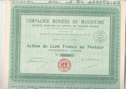 LOT DE 10 ACTIONS - COMPAGNIE MINIERE DU MASSUEIME - PORTUGAL-  ANNEE 1928 - TTB - Mines