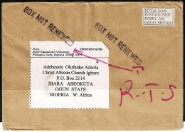 RB 1193 - 2 Return To Sender Covers Derby UK To Ogbomoso & Ibara Abeokuta Nigeria - Nigeria (1961-...)