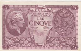 Rox  Regno Vittorio Emanuele III 5 Lire 23-11-1944 Atena Elmata Bolaffi/Cavallaro - Italia – 5 Lire