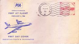 PAKISTAN : 1962 OFFICIAL FIRST FLIGHT COVER, POSTS & TELEGRAPH DEPT. : PAKISTAN INTERNATIONAL AIRWAYS : KARACHI - DACCA - Pakistan