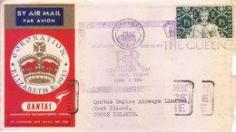 GREAT BRITAIN : 1953 CORONATION DAY SPECIAL FLIGHT, QUANTAS : LONDON TO COCOS ISLAND VIA SINGAPORE, INFORMATION CARD - 1952-.... (Elizabeth II)