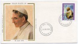 1978 - Vatican - Commémoration Du Pontificat Du Pape Jean-Paul 1er - Tp N° 618 - Image Sur Soie - FDC