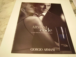 PUBLICITE AFFICHE PARFUM ARMANI CODE DE GIORGIO ARMANI - Perfume & Beauty