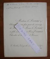 FAIRE-PART MARIAGE 1891 CORMIER # LE LEVREUR Varengeville S/Mer Seine-Maritime - Mariage