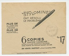 Postal Cheque Cover France 1936 Fountain Pen - Carbon Paper - Briefmarken