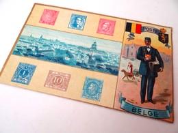 CPA. POSTE BELGE : Illustration Timbres Et Facteur. Union Postale Universelle. - Poste & Facteurs