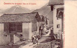 ZWITZERLAND-SCHWEIZ-SUISSE-SVIZZERA-CASACCIA-VAL BREGAGLIA-UNA VIA DI CASACCIA-CARTOLINA ANNO 1900-1904 - GR Grisons