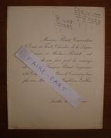 FAIRE-PART MARIAGE 1909 BRIOT # VALLEE Aurillac Cantal Courrières Pas-de-Calais - Mariage