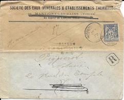 Lettre Recommandée Type Sage - Martigny Les Bains - Marcophilie (Lettres)