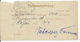 1885 - HONGRIE - CARTE ENTIER POSTAL De CHANGEMENT D'ADRESSE OBLITERATION KASSA - Enteros Postales