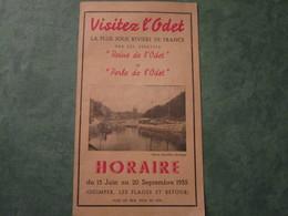 Visitez L'Odet La Plus Jolie Rivière De France - Horaire Du 15 Juin Au 20 Septembre (dépliant 3 Folios) - Europe