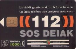 TARJETA TELEFONICA DE ESPAÑA USADA. 10.98 (451). 112 SOS DEIAK. - Spain
