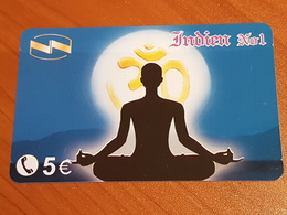 5 Euro Indian Nr. 1 - Yoga Woman -  Little Printed  -   Used Condition - Deutschland