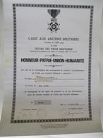 Diplome HONNEUR . PATRIE . UNION. HUMANITE (Aide Aux Anciens Militaires) ... - Non Classés