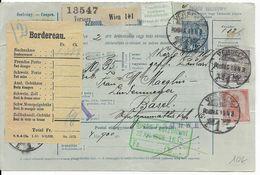 1908 - HONGRIE - CARTE COLIS POSTAUX ENTIER POSTAL De VERSECZ => BASEL - Paketmarken