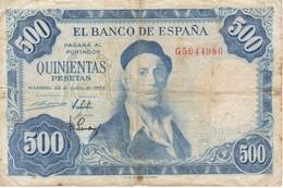 BILLETE DE ESPAÑA  DE 500 PTAS 22/07/1954 SERIE G  CALIDAD RC  ZULOAGA (BANK NOTE) - [ 3] 1936-1975 : Regency Of Franco