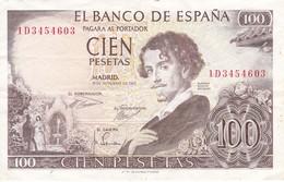 BILLETE DE 100 PTAS DEL AÑO 1965  SERIE 1D -  BECQUER  CALIDAD MBC (VF) (BANKNOTE) - [ 3] 1936-1975 : Regency Of Franco