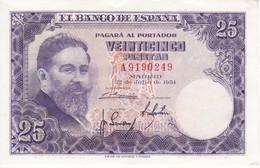 BILLETE DE ESPAÑA DE 25 PTAS DEL AÑO 1954 SERIE A EN CALIDAD EBC (XF)(BANKNOTE) - [ 3] 1936-1975 : Regency Of Franco