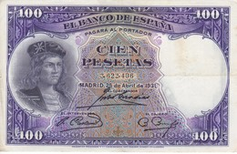 BILLETE DE ESPAÑA DE 100 PTAS DEL AÑO 1931 MBC (VF) SIN SERIE  (BANKNOTE) - [ 2] 1931-1936 : Repubblica