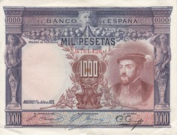 BILLETE DE ESPAÑA DE 1000 PTAS DEL AÑO 1925 DE CARLOS I CALIDAD MBC (VF)  SIN SERIE (BANKNOTE) - [ 1] …-1931 : Premiers Billets (Banco De España)