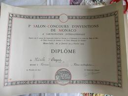 DIPLOME Du 1er SALON CONCOURS D'INVENTIONS DE MONACO -à PARTICIPATION INTERNATIONALE - 1959 - Non Classés
