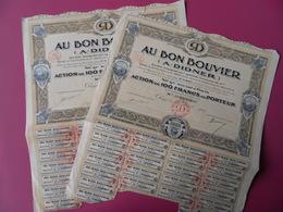 LOT DE 2 ACTIONS DE 100 FRS AU BON BOUVIER (A.DIDNER)  PARIS 1929 DECO - Landbouw