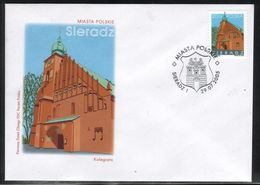 POLAND FDC 2005 POLISH TOWNS CITIES SIERADZ COAT OF ARMS CREST EAGLE CASTLE COLLEGIATE CHURCH OF ALL SAINTS - Kirchen U. Kathedralen