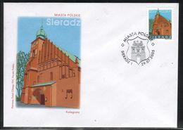 POLAND FDC 2005 POLISH TOWNS CITIES SIERADZ COAT OF ARMS CREST EAGLE CASTLE COLLEGIATE CHURCH OF ALL SAINTS - Briefe U. Dokumente
