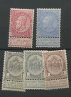 Fine Barbe  5 Valeurs Avec Charnière  Très Beau Et Frais - 1893-1907 Wappen