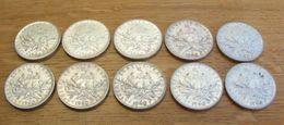 Lot De 10 Monnaies Françaises De 5 Francs En Argent - Toutes Datées De 1960 - J. 5 Francs