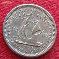 British Caribbean Territories 10 Cents 1955 KM# 5 Caraibas Caraibes Orientales - East Caribbean States