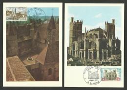 """N° 1712/13 - Lot 2 Cartes """" Série Touristique """" / Abbaye Charlieu - Cathédrale Narbonne - 1970-79"""