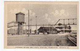 PALMERSTON, Ontario, Canada, CNR RR Station / Depot & Overhead Bridge, Old WB Postcard, Perth County - Ontario