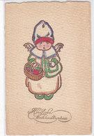 CARD BUON NATALE ANGIOLETTO  DIPINTO A MANO ? CON CESTINO FRUTTA CARTA GOFFRATA  -FP-V-2- 0882-27886 - Noël