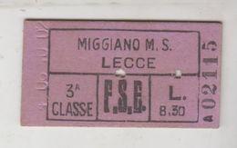 Biglietto Ticket F.s. Ferrovie Dello Stato Miggiano Lecce 3 Classe - Railway