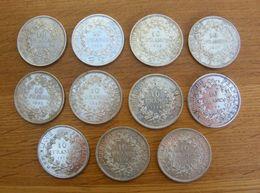Lot De 11 Monnaies Françaises De 10 Francs En Argent - 1965,66,67,68,70 - France