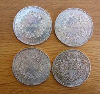 Lot De 4 Monnaies Françaises De 50 Francs En Argent - 1978,79 - France