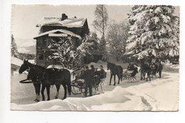 CRANS S/Sierre Hotel Et Tea Room Pas De L'ours Animée Pferde-Schlitten Gel. 1958 V. Montana-Vermala - VS Wallis