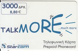 GREECE - STARCOM Prepaid Card 3000GRD/8.80 Euro, Exp.date 31/12/01, Used - Greece