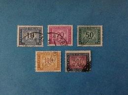 1955 ITALIA FRANCOBOLLI USATI STAMPS USED - SEGNATASSE FILIGRANA STELLE 10 20 50 100 500 Lire - 1946-.. Republiek
