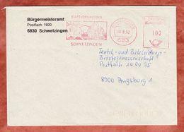 Brief, Absenderfreistempel, Stadtverwaltung Schwetzingen, 100 Pfg, 1992 (47253) - Poststempel - Freistempel