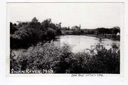 SWAN RIVER, Manitoba, Canada, Water View Of Old Hospital, 1939 RPPC - Autres