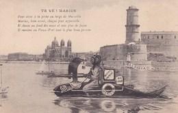 Te Ve Marius Photomontage D Un Marseillais Sur La Sardine Sous Marin Et Scaphandre Au Mistral Comprimé Vieux Port - 1900-1949