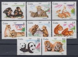 1979.125 CUBA 1979 MNH. Ed.2607-14. FAUNA, PANDA BEAR, CHIMP MONKEY, TIGER, LEOPARD, LION, CORZO. - Cuba