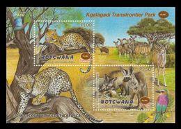 Botswana 2001 Mih. 720 722 (Bl.34) Fauna. Transfrontier Park. Leopards. Birds (joint Issue Botswana-South Africa) MNH ** - Botswana (1966-...)
